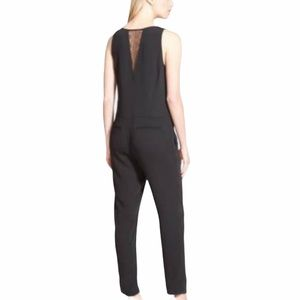 Trouve Black sleeveless lace insert jumpsuit- XS